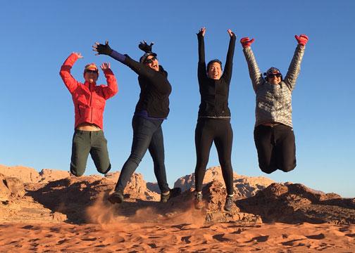Jumping pic in the wadi rum desert