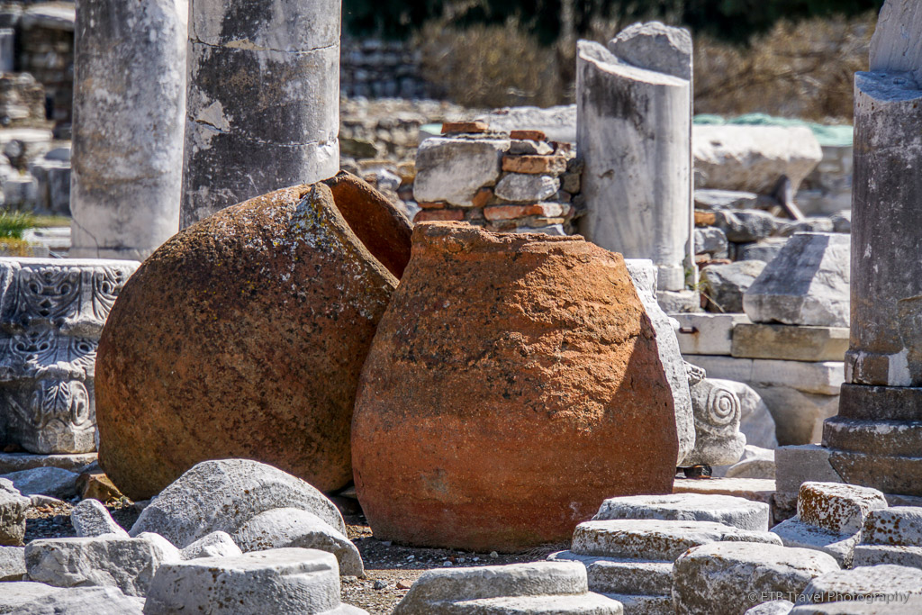pots at basilica of st john in selcuk