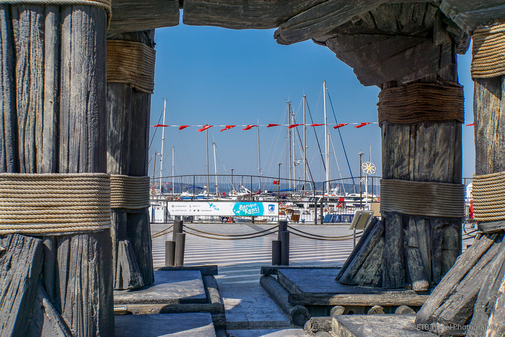 view of boats through Trojan Horse in Canakkale