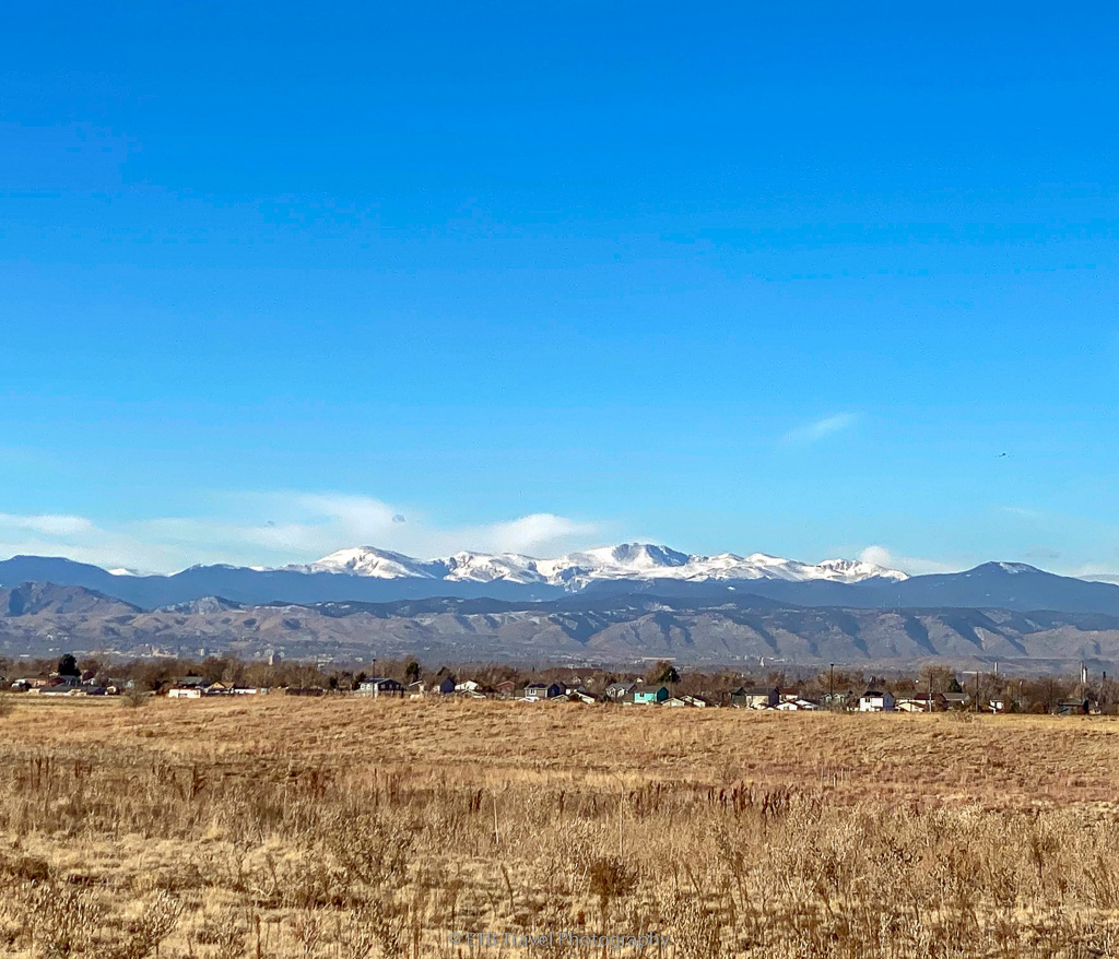 view of snowcapped mountains from Prairie Gateway Open Space